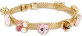 Betsey Johnson Gold-Tone Flower and Stone Decorated Mesh Bracelet