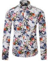 APTRO Men's 100% Cotton Long Sleeve Floral Shirt Blue Flower Printing Shirt XL