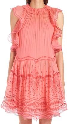 Alberta Ferretti Frill Detail Mini Dress