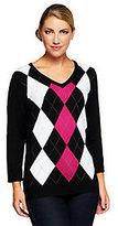 Denim & Co. As Is 3/4 Sleeve V-neck Argyle Sweater