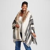 Women's Plus Size Poncho with Fur Collar - Merona