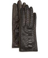 Guanti Python/Napa Leather Gloves, Black/Navy