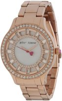 Betsey Johnson Women's BJ00157-20 Analog Rose Gold Baguette Crystal Dial Watch