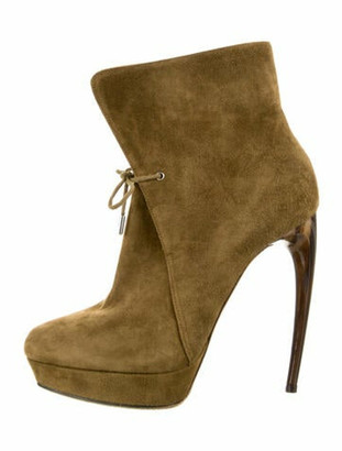 Alexander McQueen Suede Lace-Up Boots Green