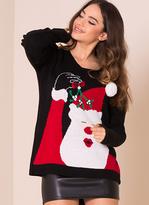 Missy Empire Black Santa Mistletoe Christmas Jumper