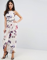Little Mistress Petal Print Halter Maxi Dress