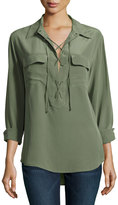 Equipment Silk Knox Lace-Up Blouse