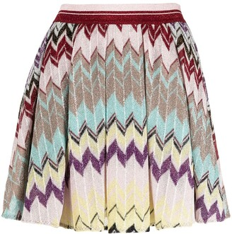 Missoni Chevron-Knit Pleated Skirt
