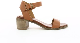 Kickers Volou Leather Two-Part Sandals with Block Heel