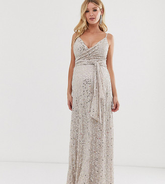 ASOS DESIGN Maternity tie waist maxi dress in all over sequin