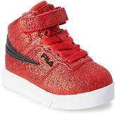 Fila Toddler/Kids Girls) Fire Red & Black Vulc 13 Glitter Blast High-Top Sneakers