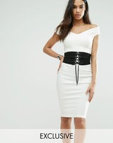 Vesper Off Shoulder Pencil Dress With Corset Waist Detail