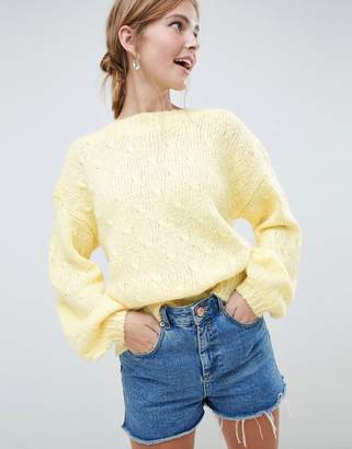 Minimum Moves By balloon sleeve sweater-Yellow