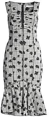Jason Wu Collection Women's Floral Plaid Stretch Ruffle Hem Bodycon Dress - Size 0