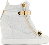 Giuseppe Zanotti White Croc-Embossed Wedge Sneakers