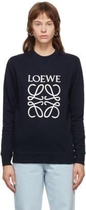 Loewe Navy EmbroideredAnagram Sweatshirt