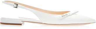Prada Bow-Embellished Slingback Textured-Leather Flats