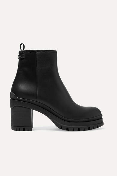 Prada 55 Leather Ankle Boots - Black