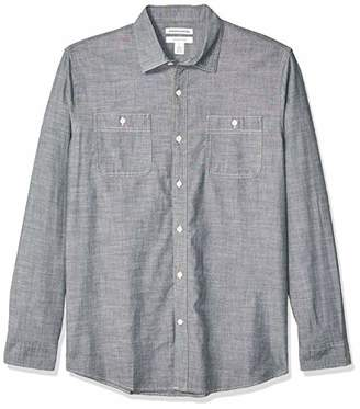 Amazon Essentials Regular-fit Long-sleeve Chambray Shirt Button,(EU S)