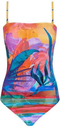 Gottex Tropical Print Bandeau Swimsuit