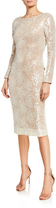 Dress the Population Susanna Long-Sleeve Sequined Dress