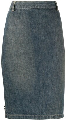 Gucci Pre Owned 1990s Pencil Denim Skirt