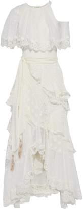 Zimmermann Asymmetric Lace-up Swiss-dot, Lace And Fil Coupe Silk-blend Midi Dress