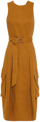 Tibi Cutout Belted Linen-blend Twill Dress