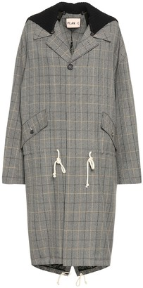 Plan C Checked wool-blend coat