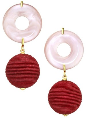 Lizzie Fortunato Saffron Goldplated & Pink Mother-Of-Pearl Wrapped Bead Drop Earrings