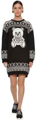 Moschino Knee Length Wool Blend Knit Dress