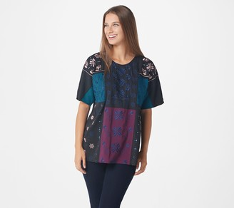 Logo by Lori Goldstein LOGO Lavish by Lori Goldstein Color-Block Embroidered Beaded Blouse