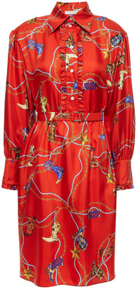 Sandro Bootsy Belted Ruffle-trimmed Printed Silk-twill Shirt Dress