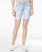 Indigo Rein Juniors' Selvedge Ripped Denim Bermuda Shorts
