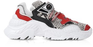 N°21 Snake Printed Calf Leather & Red Patent Leather Sneakers