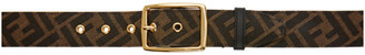 Fendi Black and Brown Webbing Forever Belt