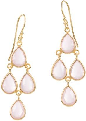 Amadeus Sophia Pink Quartz Chandelier Earrings