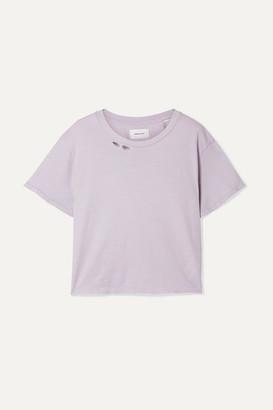 Current/Elliott The Short Distressed Cotton-jersey T-shirt - Lavender