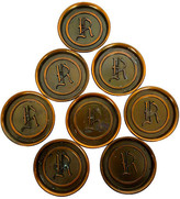 One Kings Lane Vintage Copper Monogram Coasters - Set of 8 - Cliffe's Edge Antiques - copper/brass