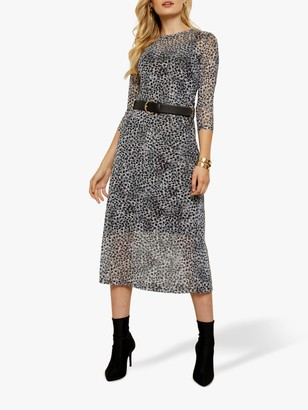 Sosandar Mesh Snow Leopard Print Midi Dress, Black