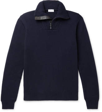 Brioni Leather-Trimmed Cashmere Half-Zip Sweater