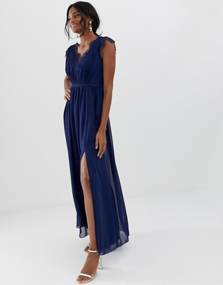 Little Mistress maxi dress with lace detail and side split