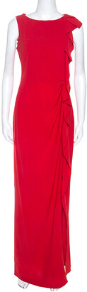 Carolina Herrera Red Crepe Ruffled Detail Sleeveless Maxi Dress S