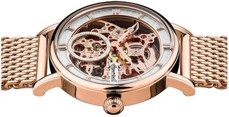 Ingersoll 1892 The Herald White and Rose Gold Skeleton Automatic Dial Ros Gold Stainless Steel Mesh Strap Watch