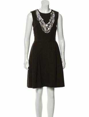 Oscar de la Renta Wool Knee-Length Dress brown