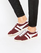 Gola Classic Bullet Trainers In Burgandy & White