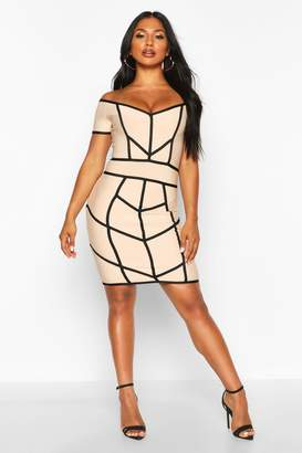 boohoo Off Shoulder Seam Detail Bandage Dress