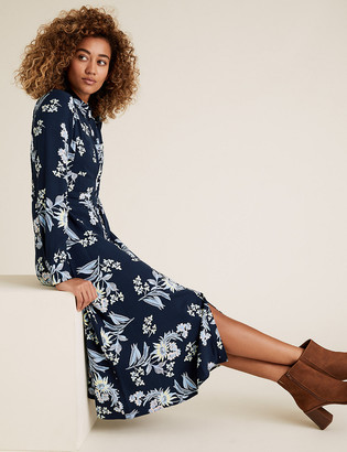 Marks and Spencer Floral Belted Midi Shirt Dress