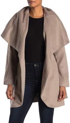 Tahari Wool Blend Oversized Drape Collar Tie Coat