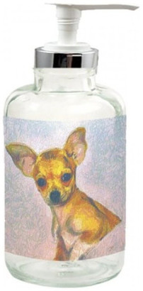 clear Doggylips Chihuahua, Belle, Glass Lotion Dispenser